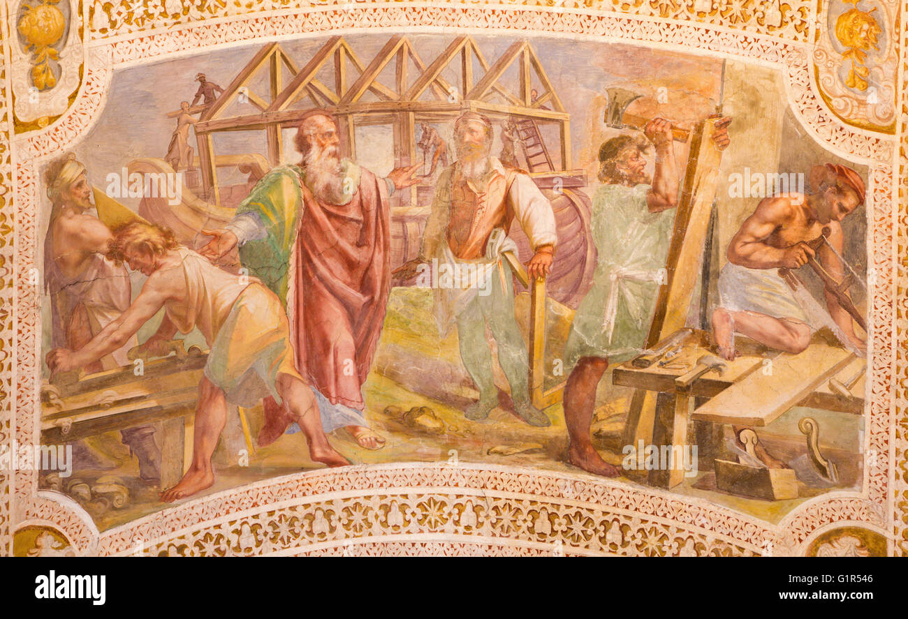 ROME, ITALY - MARCH 11, 2016: The Construction of Noah's Ark by Baldassare Croce  (1558 - 1628). - Stock Image