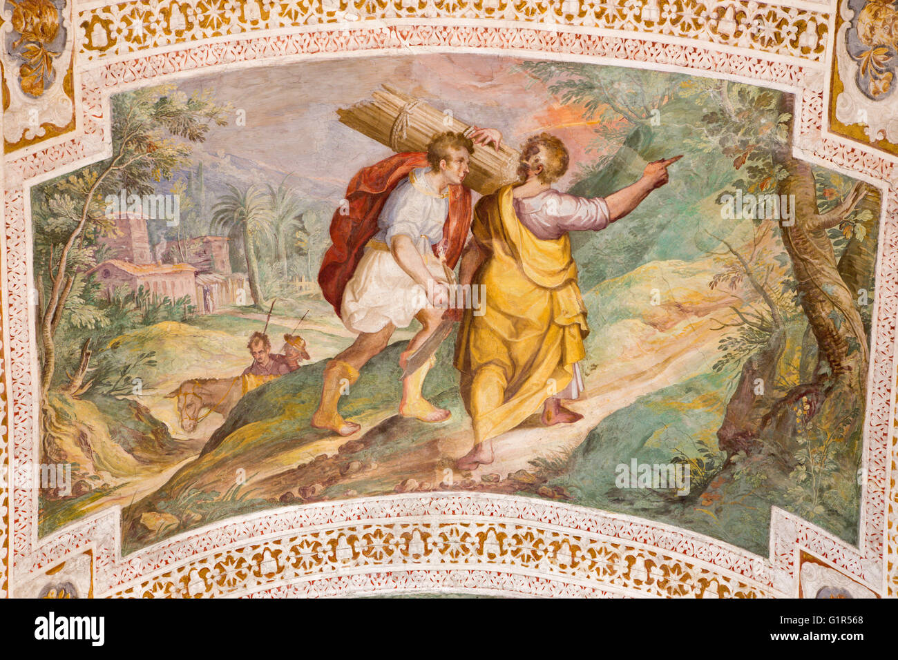 ROME, ITALY - MARCH 11, 2016: The Abraham and Isaac Going to the Sacrifice by P. Bril, and A. Viviani (1560–1620). - Stock Image