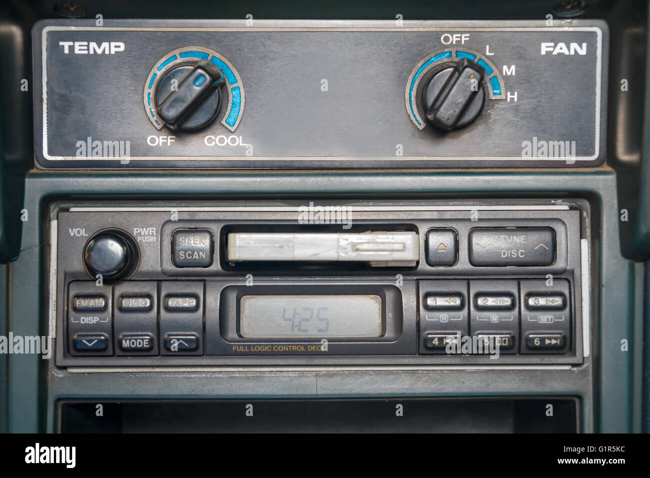 cassette tape player in car - Stock Image