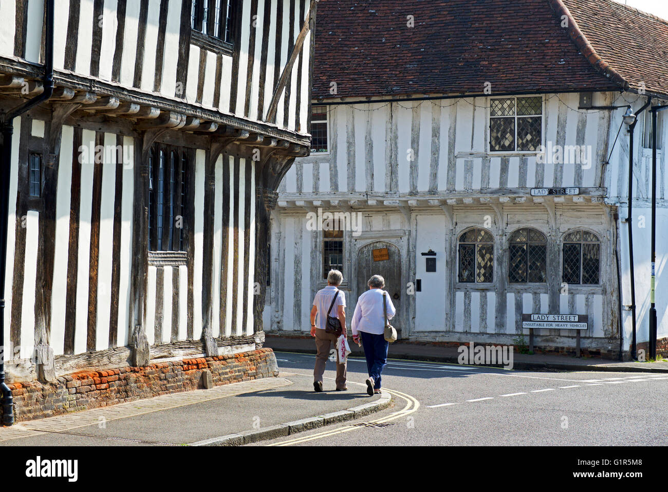 Junction of Water Street and Lady Street in the village of Lavenham, Suffolk, England UK - Stock Image