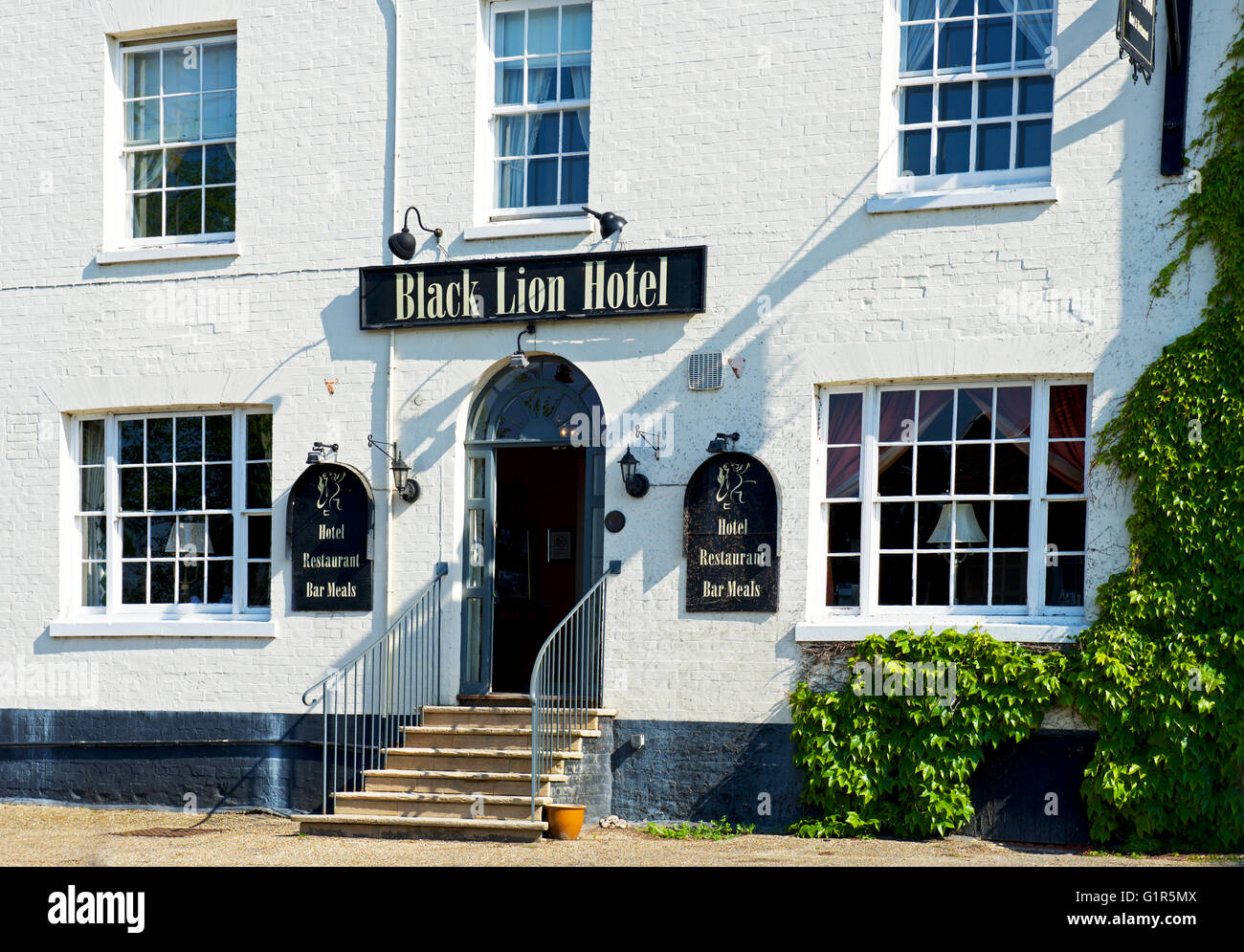 The Black Lion Hotel in the village of Long Melford, Suffolk, England UK - Stock Image