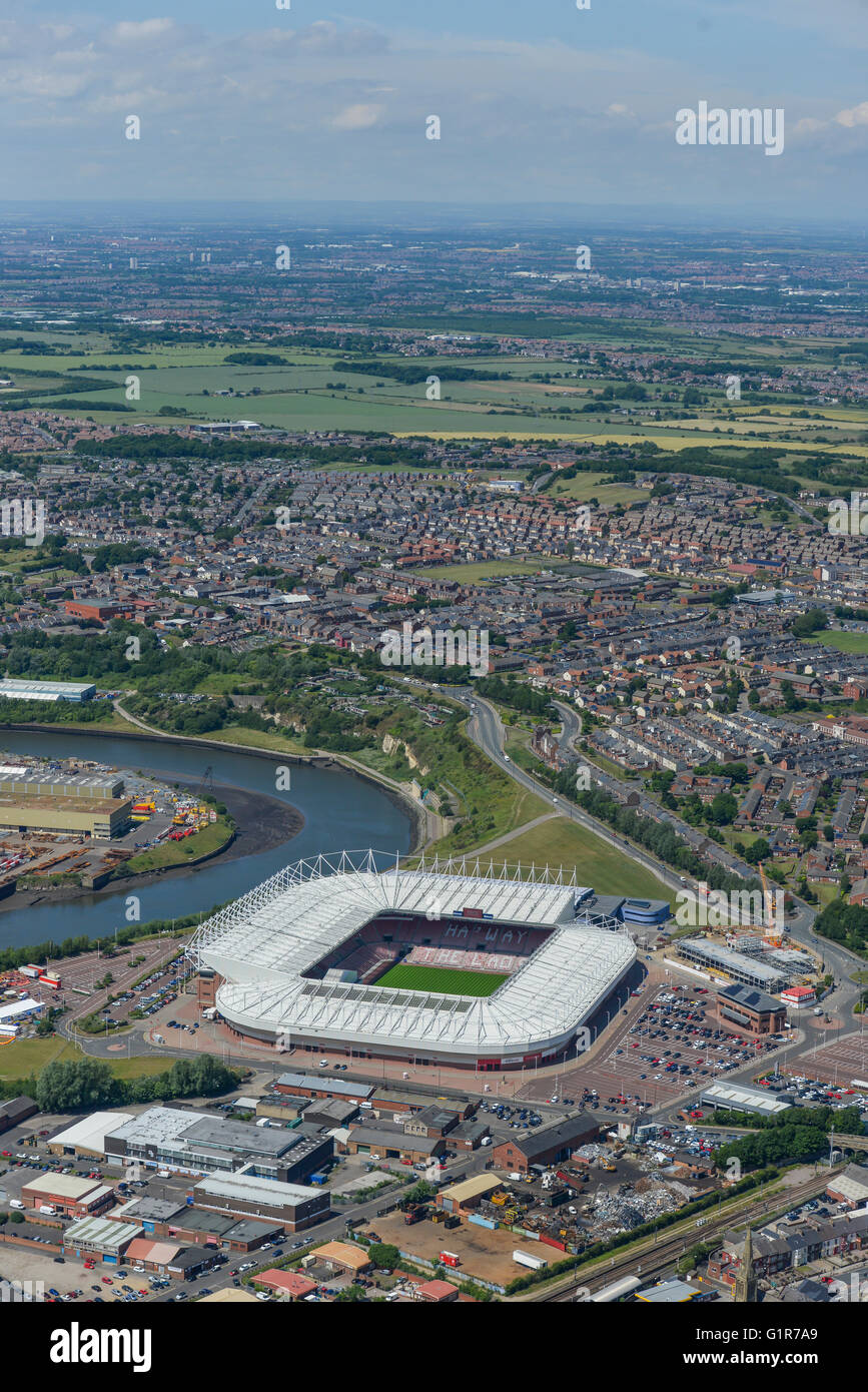 A wide view of the area of Sunderland surrounding the Stadium of Light - Stock Image