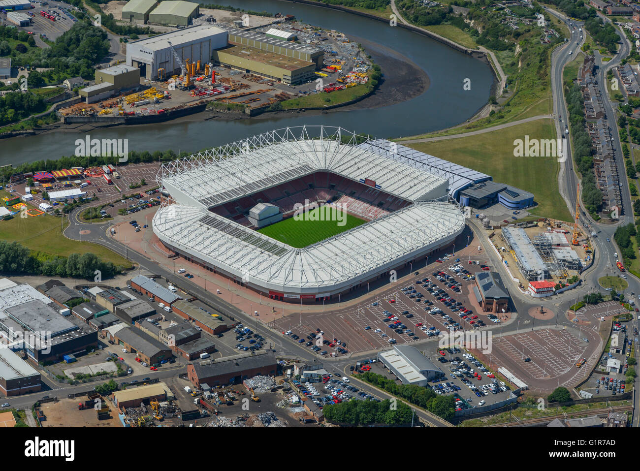 An aerial view of the Stadium of Light, home of Sunderland AFC - Stock Image
