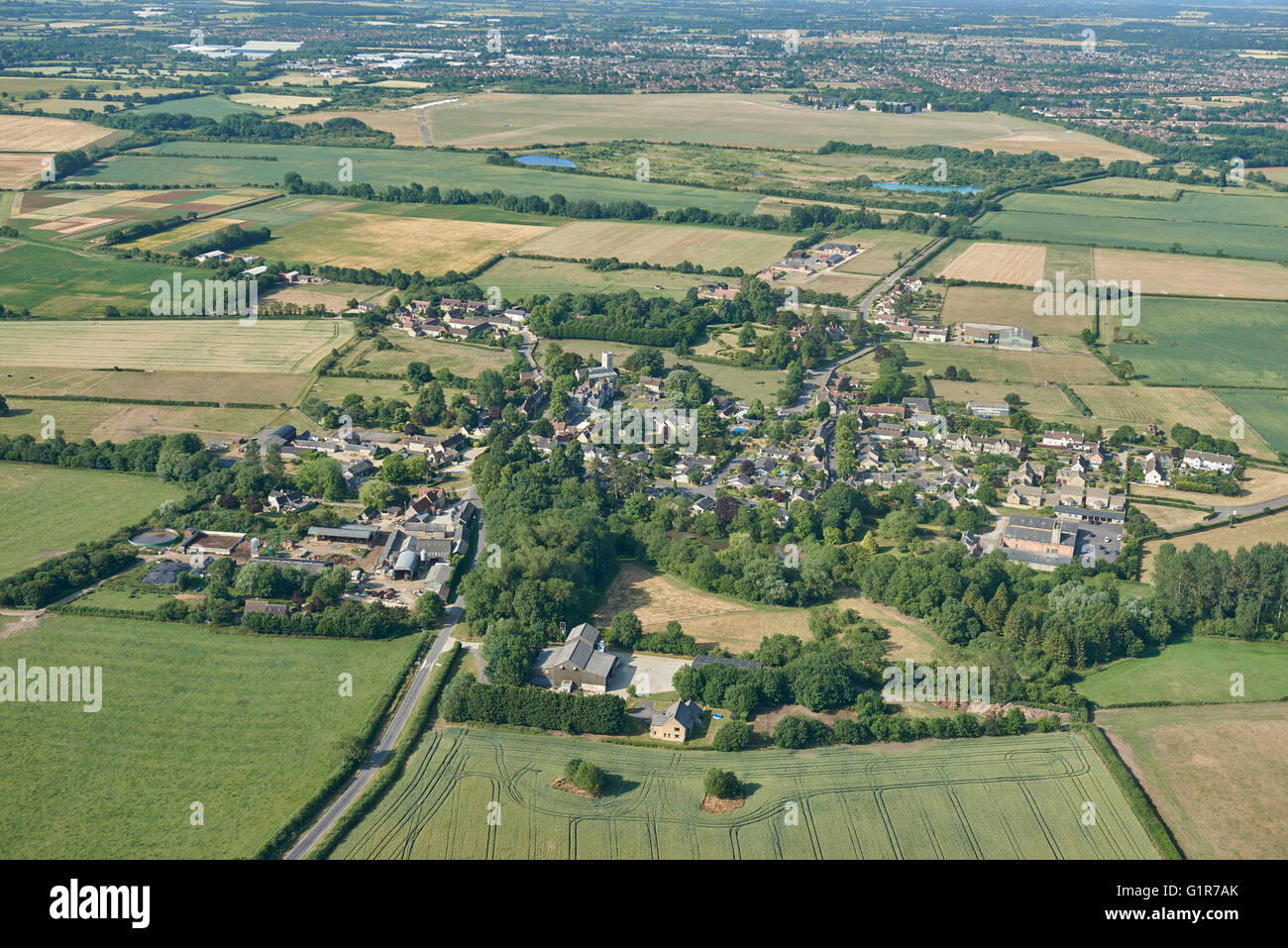 An aerial view of the Oxfordshire village of Stratton Audley and surrounding countryside - Stock Image