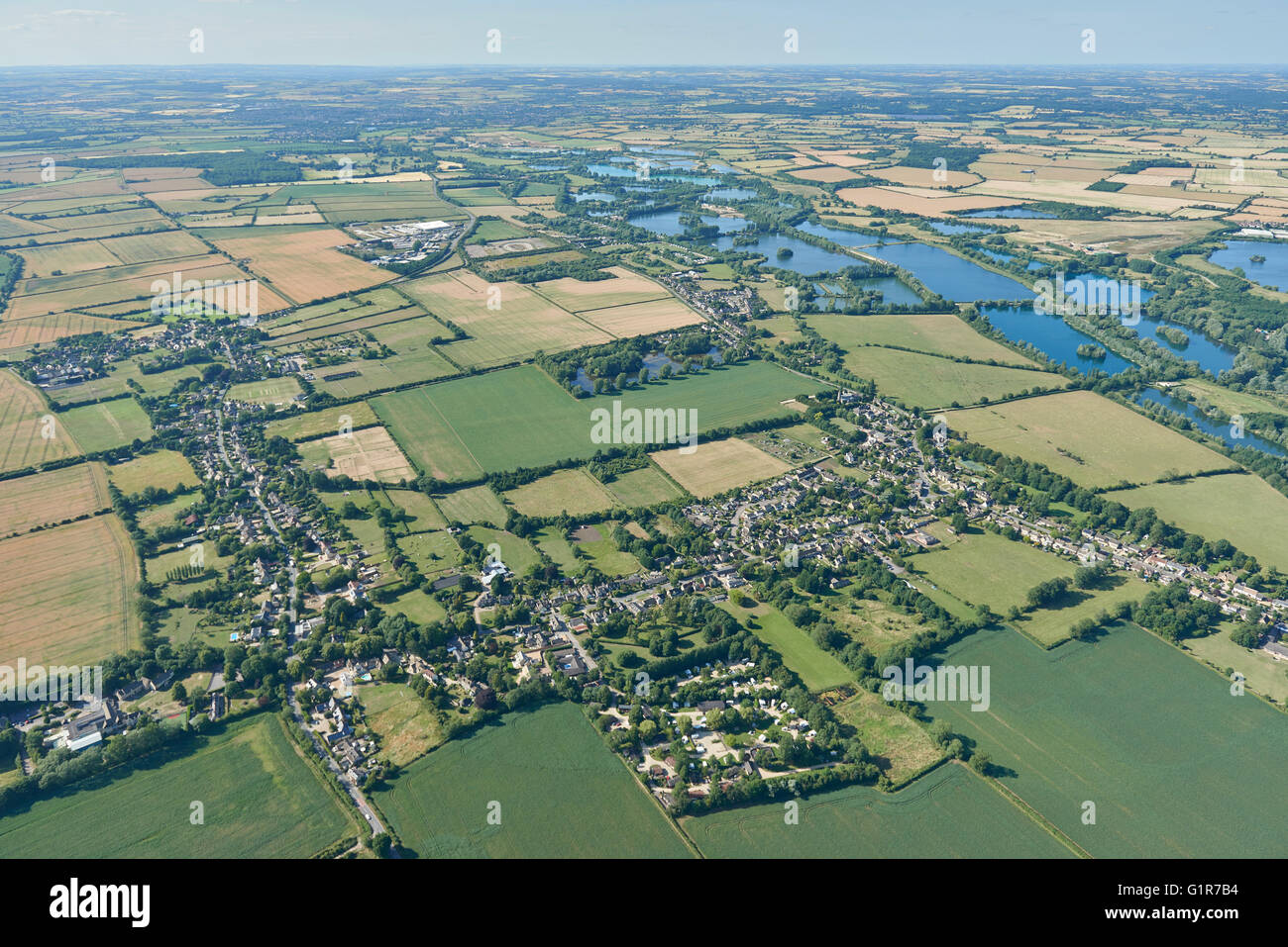 An aerial view of the Oxfordshire village of Standlake and surrounding countryside - Stock Image