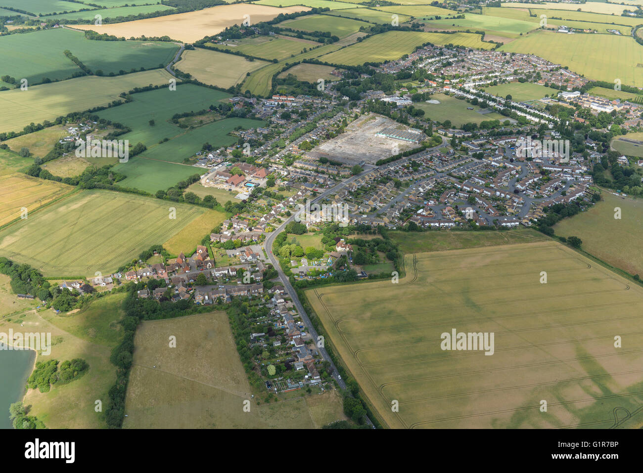 An aerial view of the village of Silver End and surrounding Essex countryside - Stock Image
