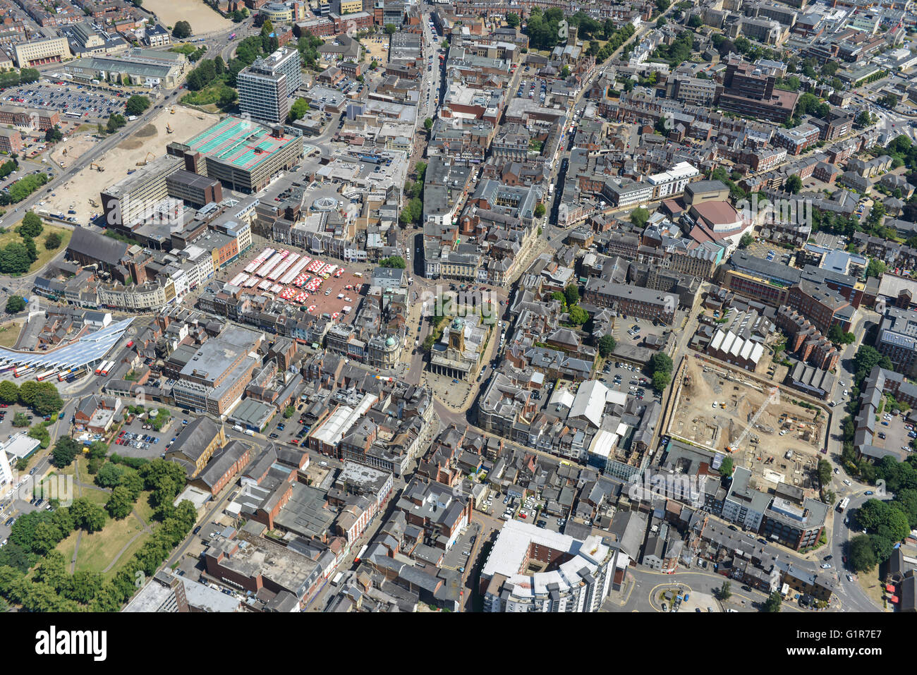 An aerial view of Northampton town centre - Stock Image