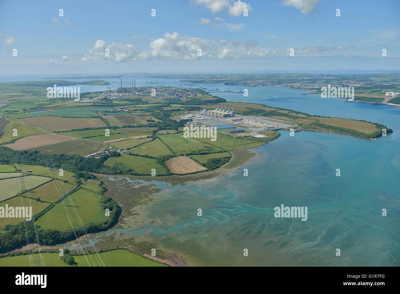 An aerial view of Milford Haven, Pembrokeshire - Stock Image