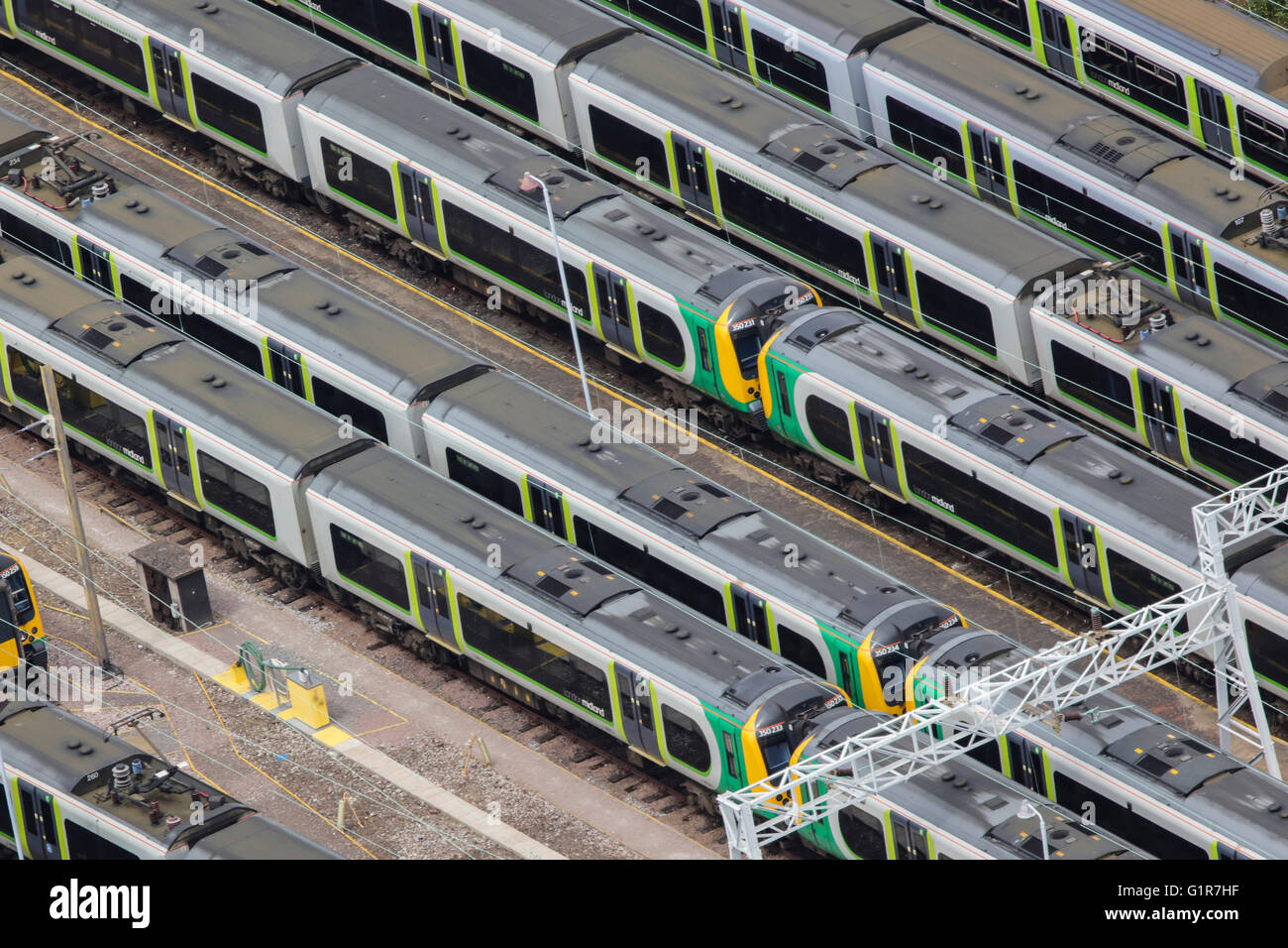 An aerial view of trains parked in a railway siding - Stock Image