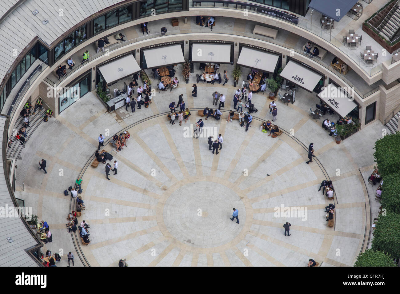 A close up aerial view of Broadgate Circle in the City of London - Stock Image