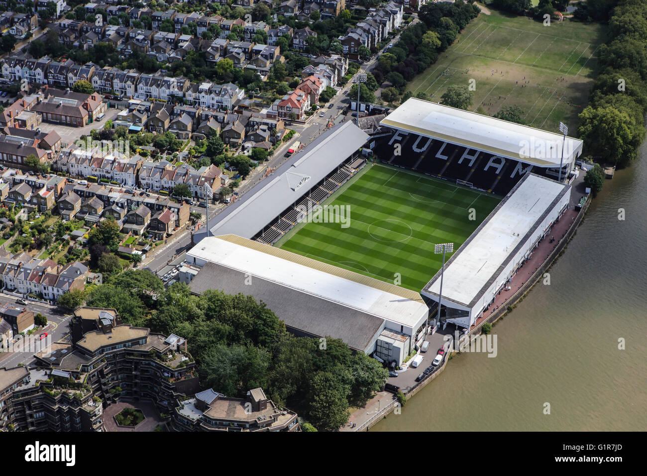 An aerial view of Craven Cottage, home of Fulham Football Club - Stock Image
