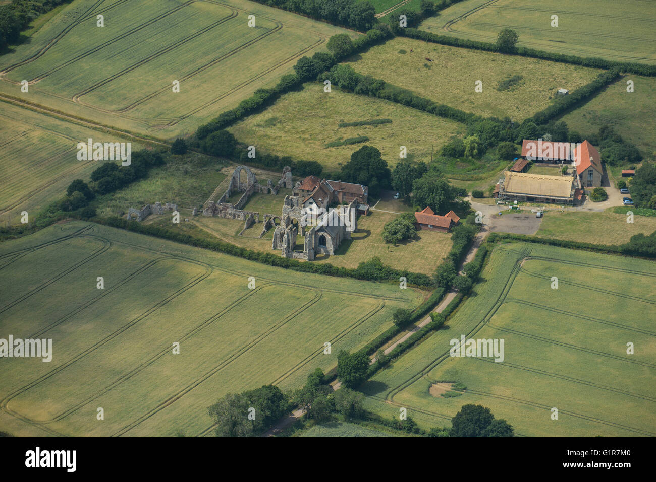 An aerial view of Leiston Abbey, Suffolk - Stock Image
