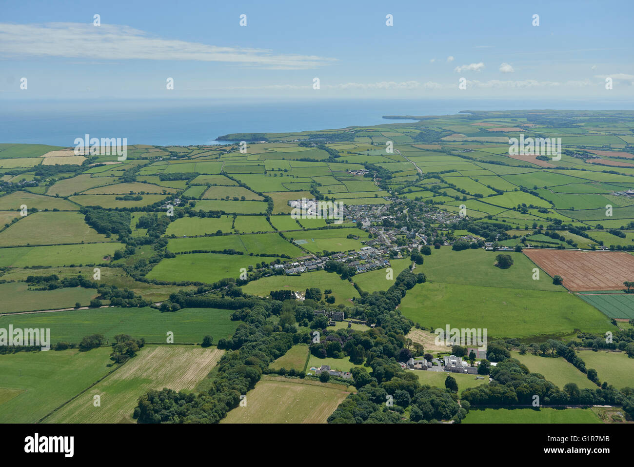 An aerial view of the Pembrokeshire village of Lamphey and surrounding countryside - Stock Image