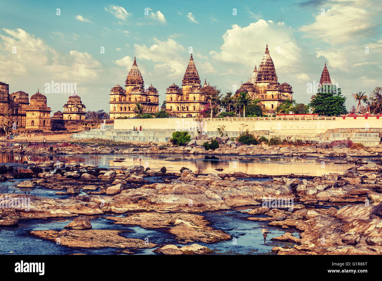 Royal cenotaphs of Orchha,  Madhya Pradesh, India - Stock Image