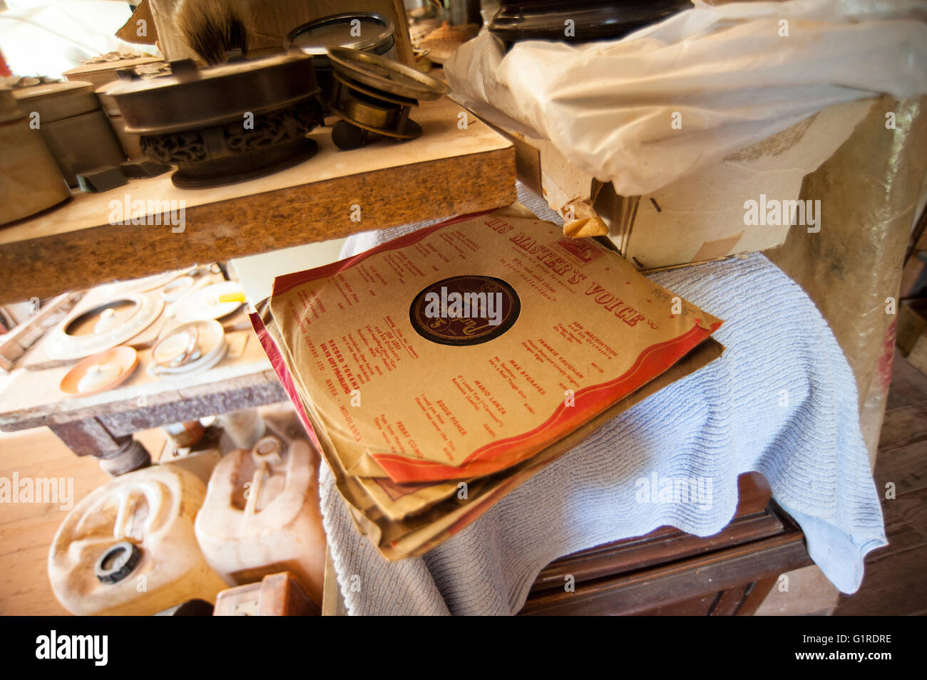 Old 78 rpm Gramophone Records and Record Sleeves - Stock Image