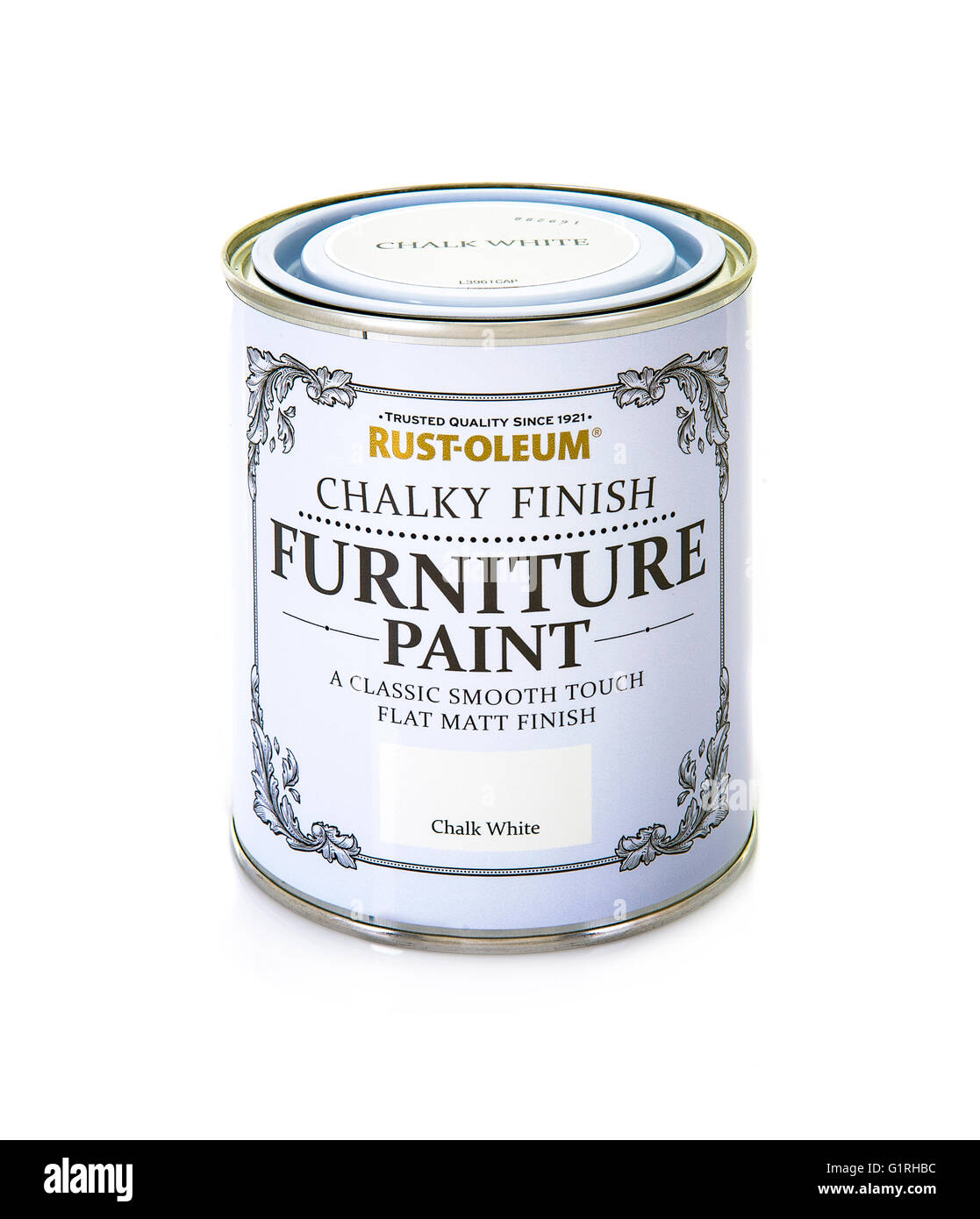 Rust-oleum Chalky Finish Furniture Paint on a white background - Stock Image
