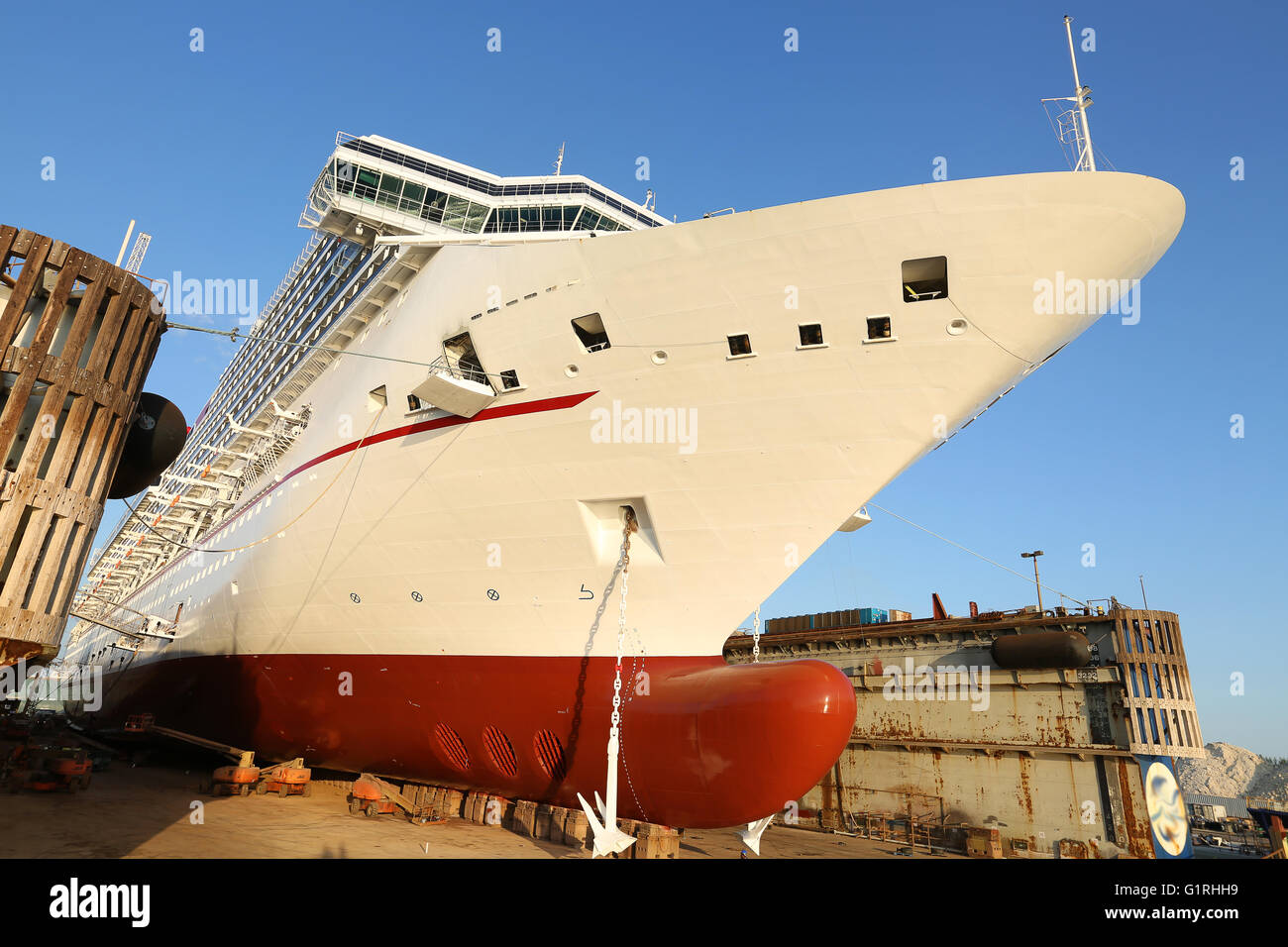 cruise Ship in dry dock - Stock Image