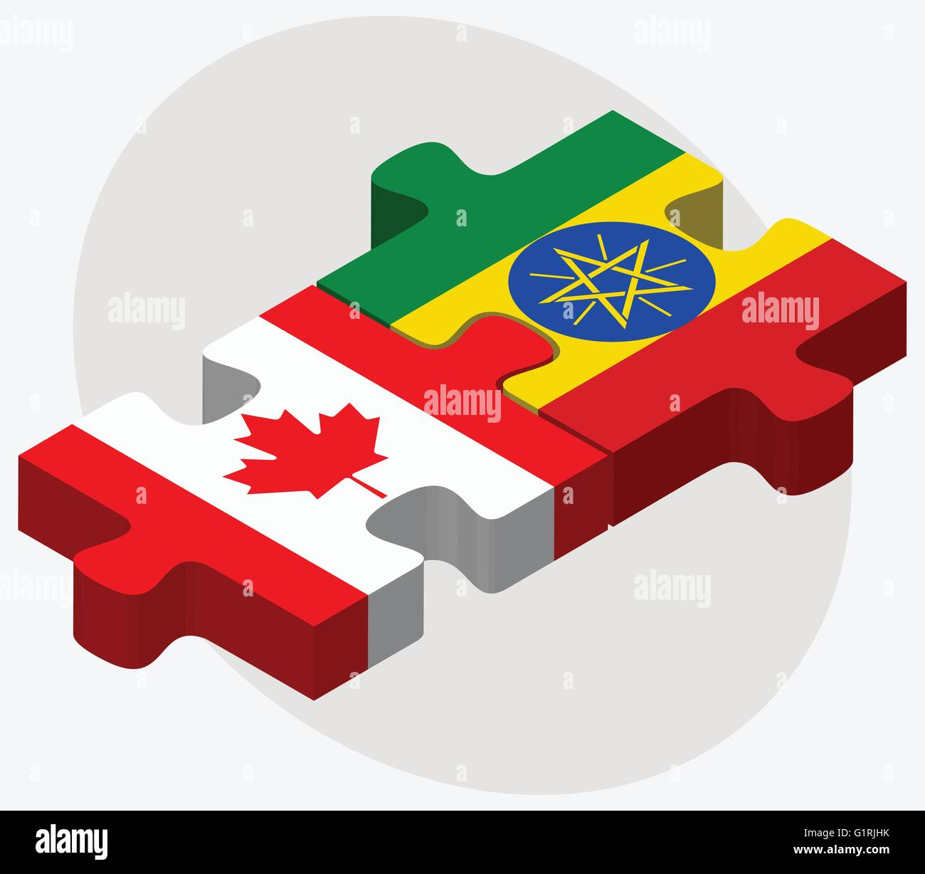 Canada and Ethiopia Flags in puzzle isolated on white background - Stock Vector