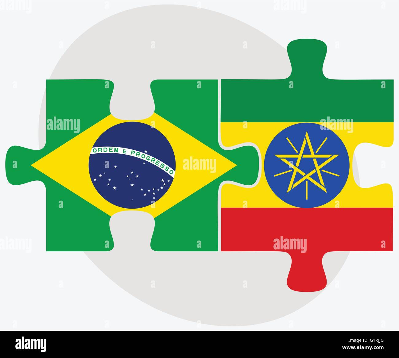 Brazil and Ethiopia Flags in puzzle isolated on white background - Stock Vector