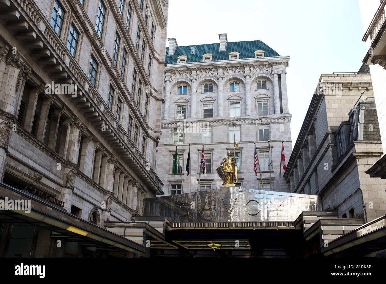 The metallic entrance canopy of the Savoy Hotel in London UK - Stock Image