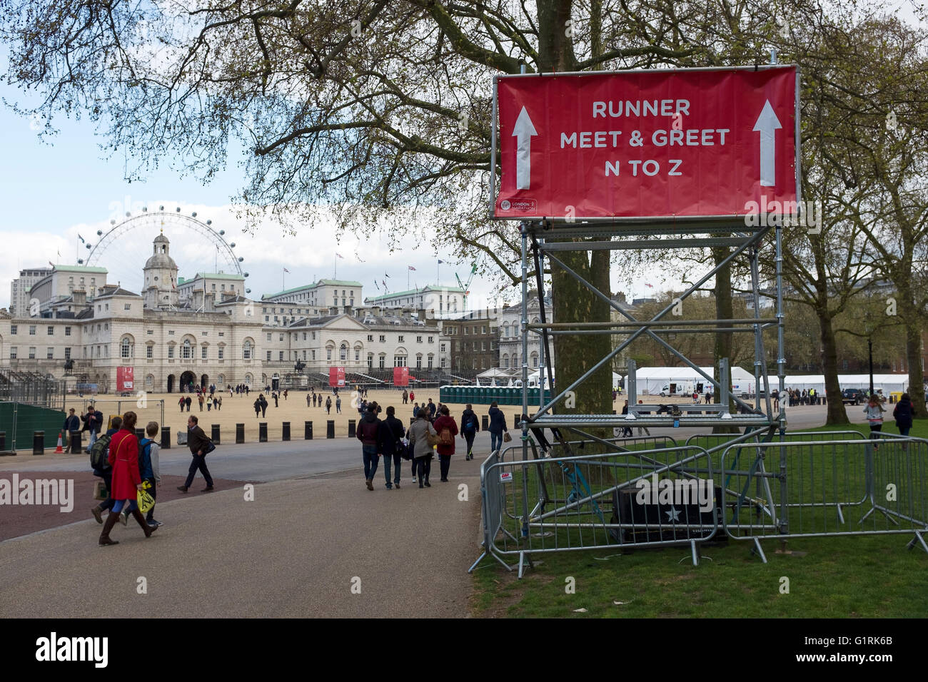 Finish line preparations under way the day before the 2016 London Marathon - Stock Image