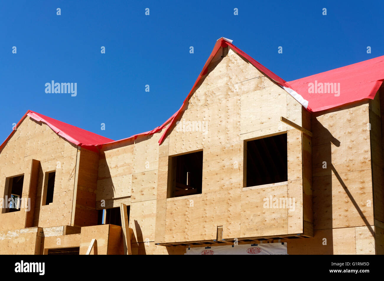 Wood framed house under construction in Vancouver, British Columbia, Canada - Stock Image