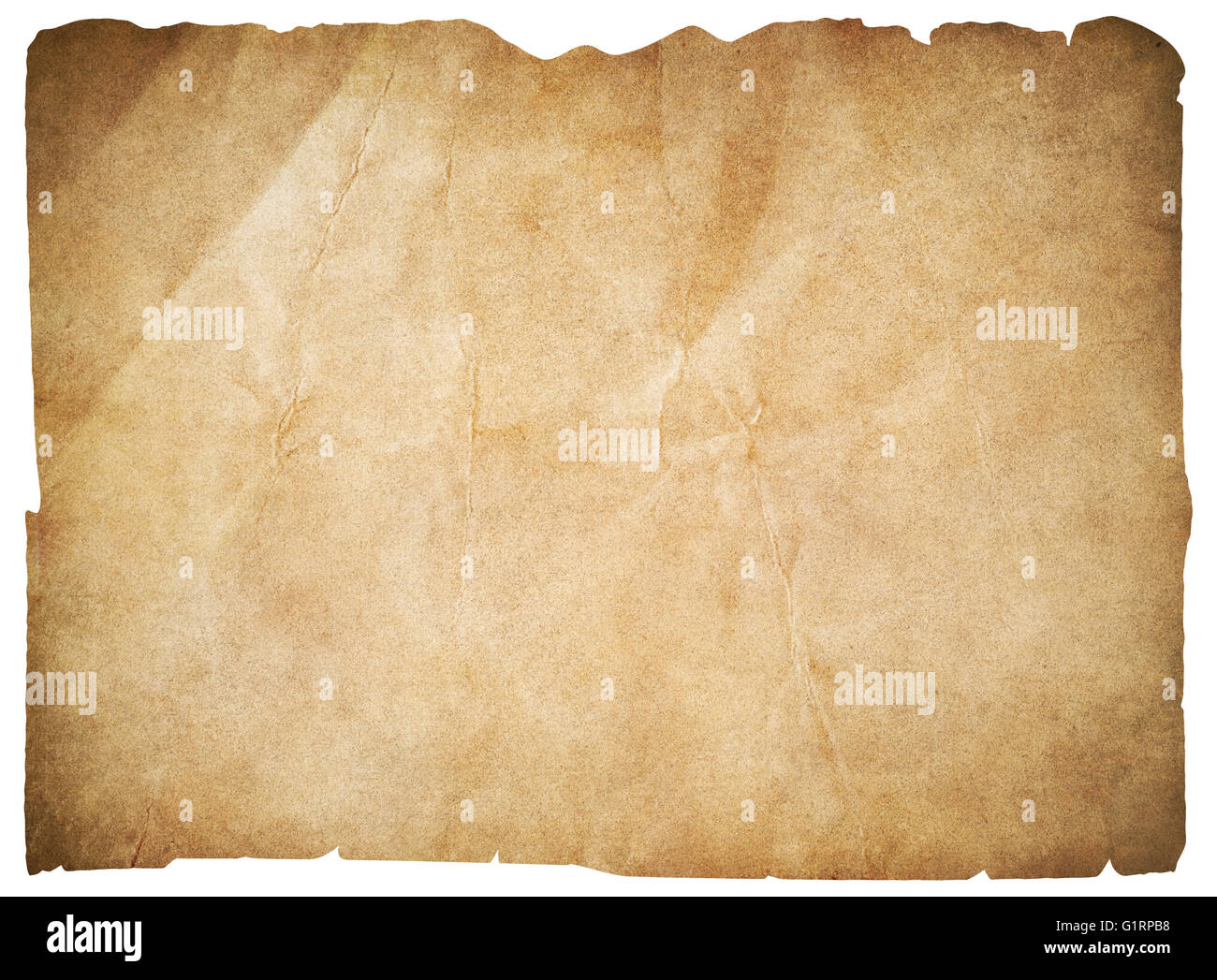 old paper or blank pirates map isolated with clipping path - Stock Image