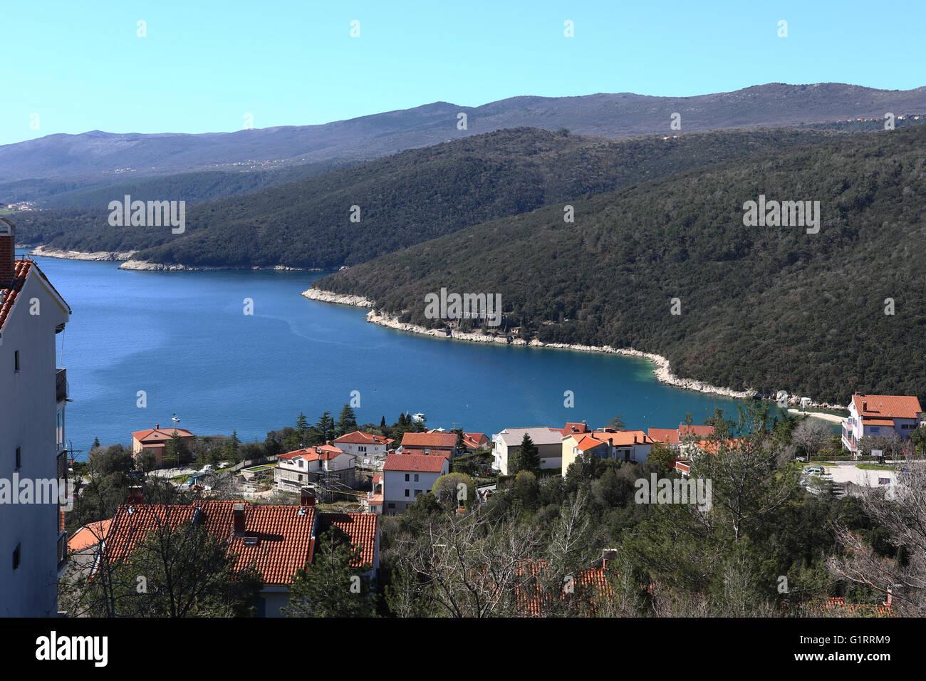 Bird-eye view of Rabac, Istria,Croatia, - Stock Image