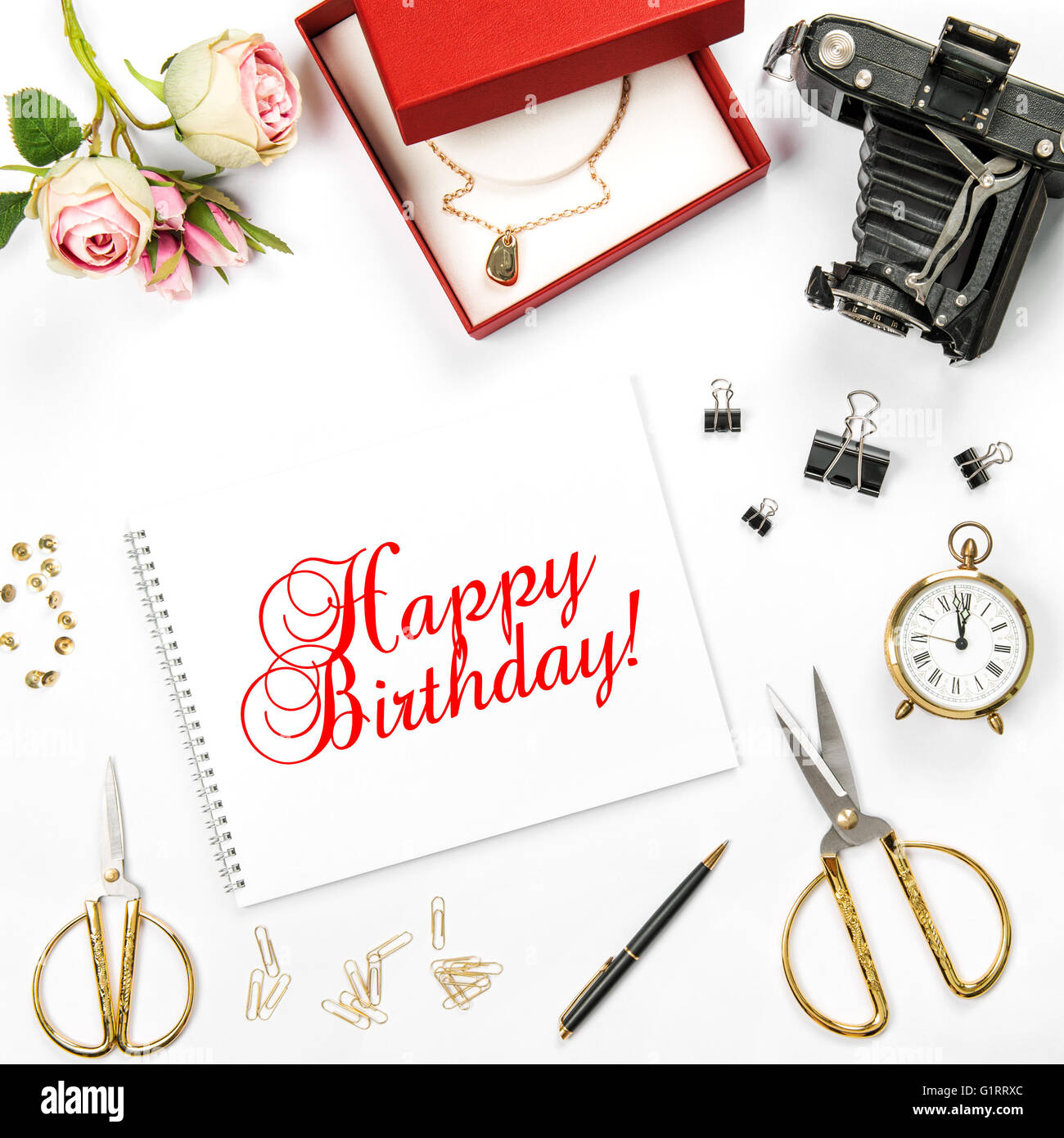 Birthday Flat Lay Background With Gift Box And Rose Flowers Sample Text Happy Greetings Card Concept