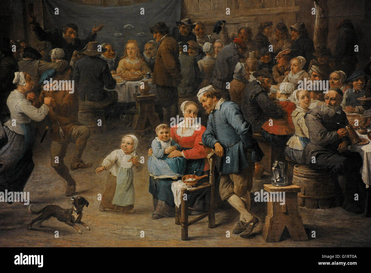 David Teniers the Younger (1610-1690). Baroque painter. Village Wedding, 1650. Detail. Oil on canvas. The State - Stock Image