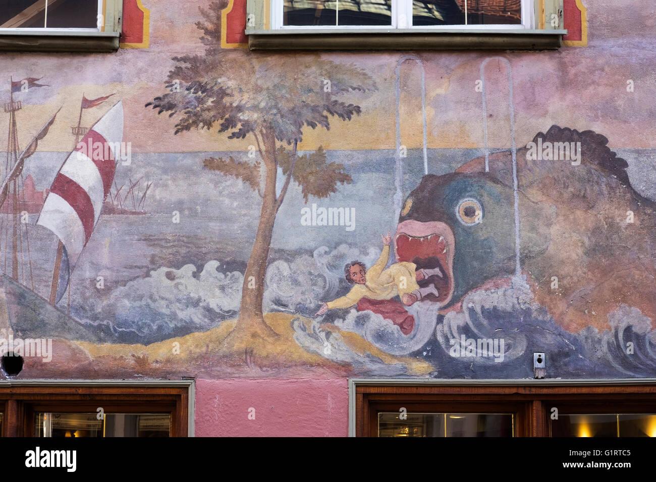 Fresco with the story of Jonah in the whale, whale cafe, Wangen in Allgäu, Westallgäu, Allgäu, Swabia, - Stock Image