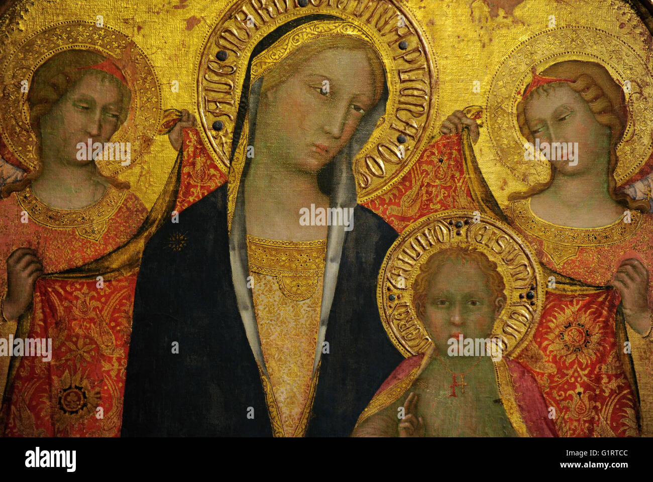 Paolo di Giovanni Fei (c. 1345- c. 1411). Italian painter. Sienese school. Madonna with Child and Two Angels, middle Stock Photo