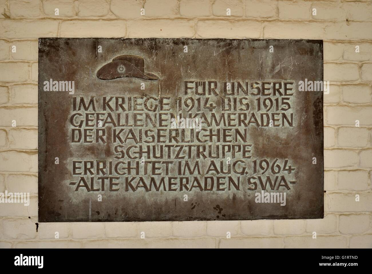 Commemorative Plaque for the fallen soldiers of the German colonial force in the courtyard of the Alte Feste, Windhoek, - Stock Image