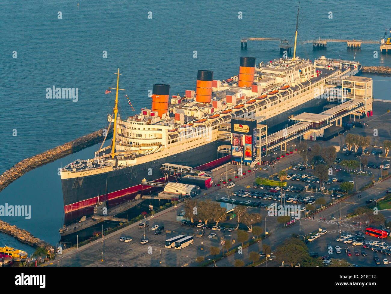 RMS Queen Mary Ocean Liner Hotel, Queen Mary Hotel in Long Beach Harbor, Long Beach, Los Angeles County, California, - Stock Image