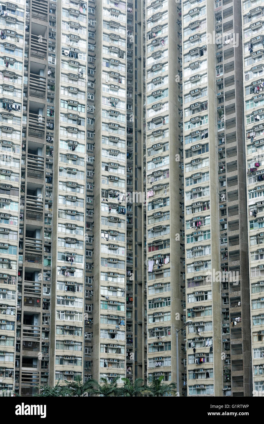 High-rise residential building, Public Housing, Tai Po, New Territories, Hong Kong, China - Stock Image
