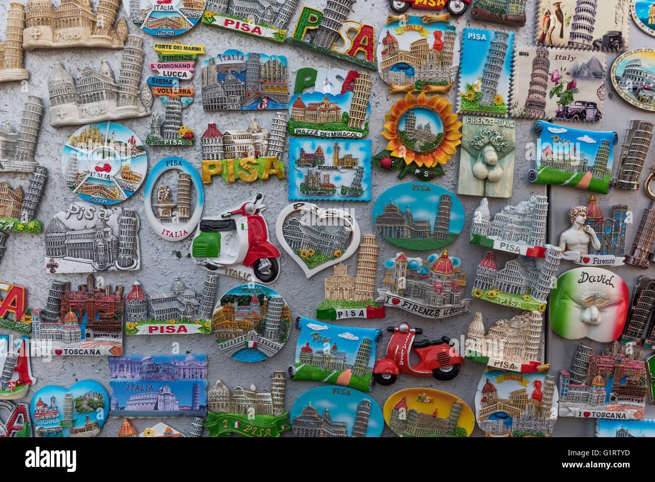 Magnets, keepsake, souvenir with Italian sights, Province of Pisa, Tuscany, Italy - Stock Image