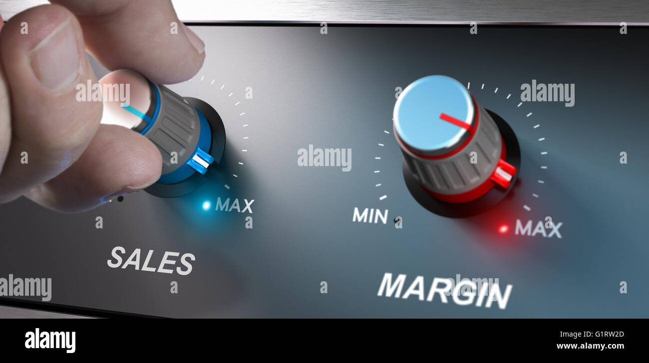 Profitable business concept, sales and margin improvement. Compositing between a hand and 3d background. - Stock Image