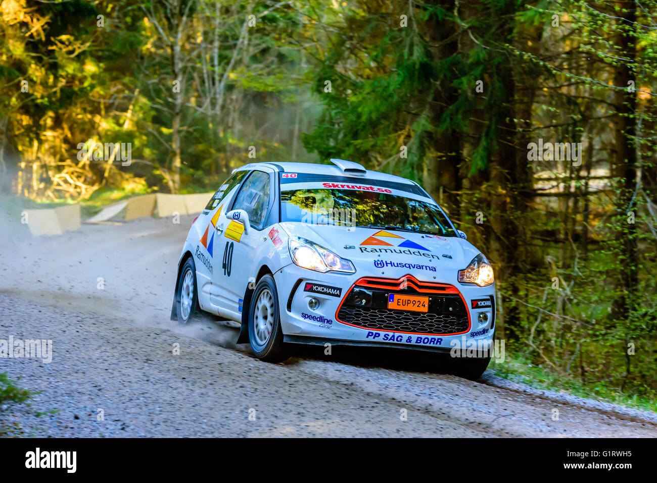 Karlskrona, Sweden - May 6, 2016: 41st South Swedish Rally in the woods outside town on gravel road on special stage - Stock Image