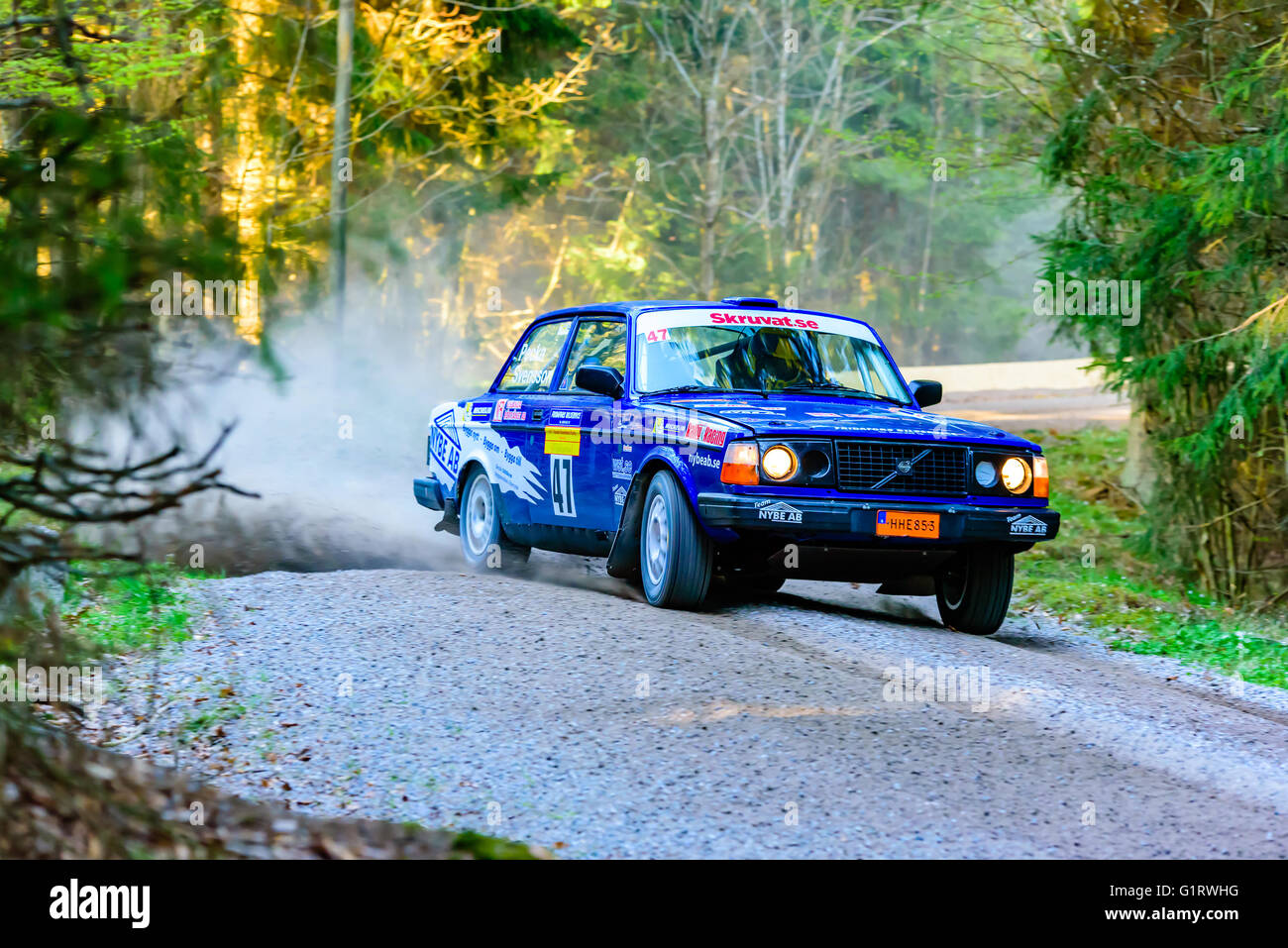 Karlskrona, Sweden - May 6, 2016: 41st South Swedish Rally in the woods outside town on gravel road on special stage Stock Photo