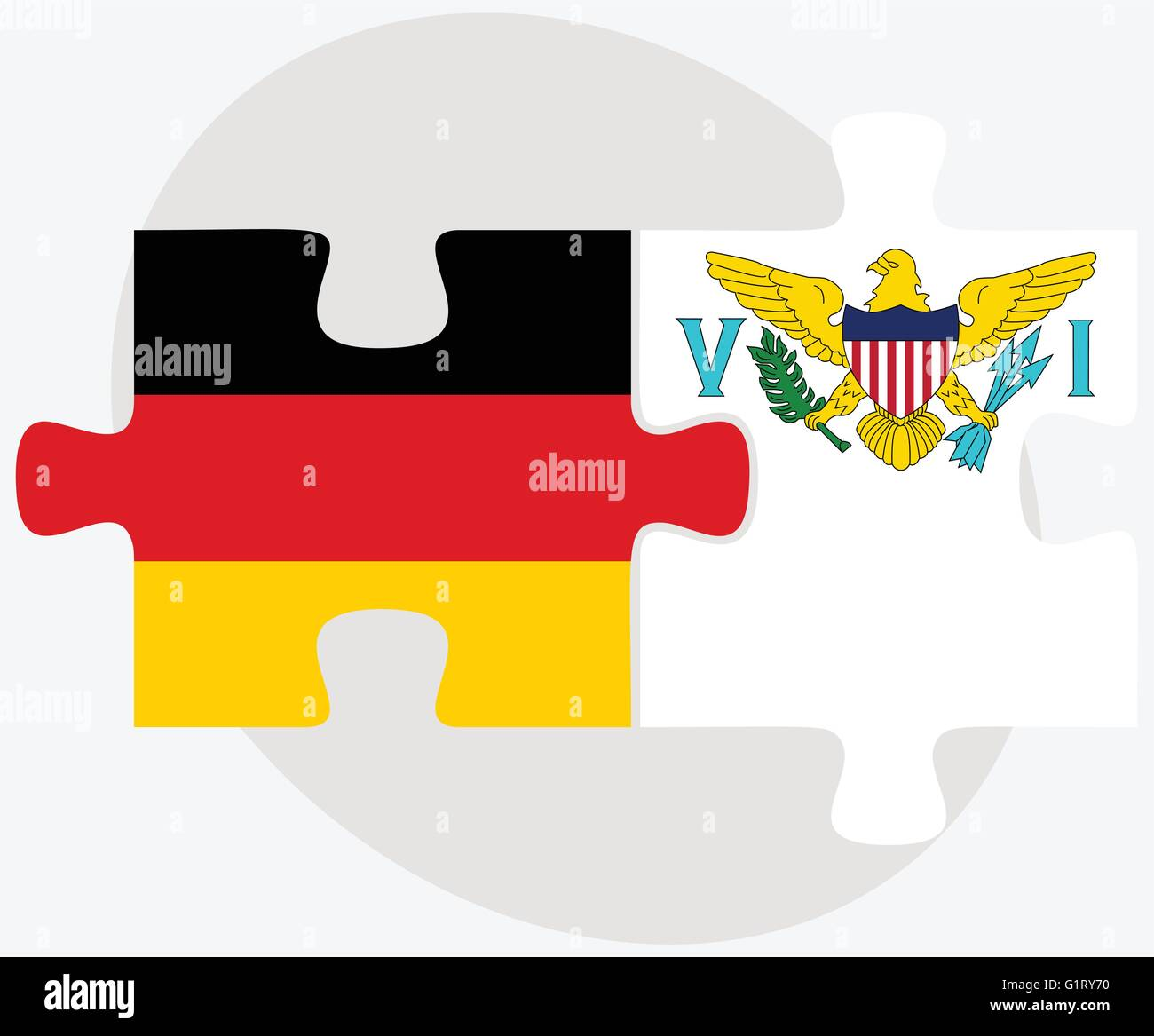 Germany and Virgin Islands (U.S.) Flags in puzzle isolated on white background - Stock Vector