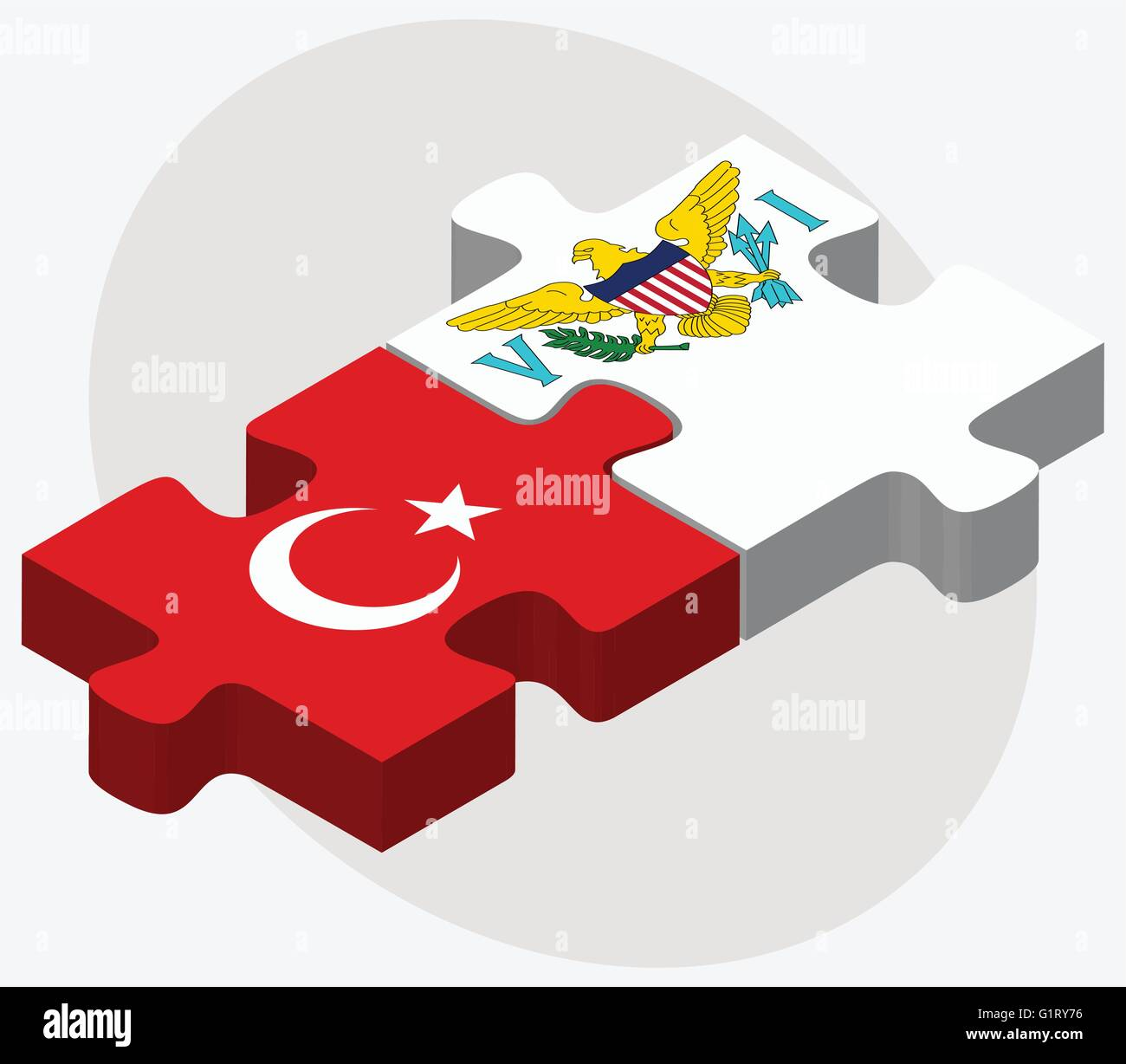 Turkey and Virgin Islands (U.S.) Flags in puzzle isolated on white background - Stock Vector