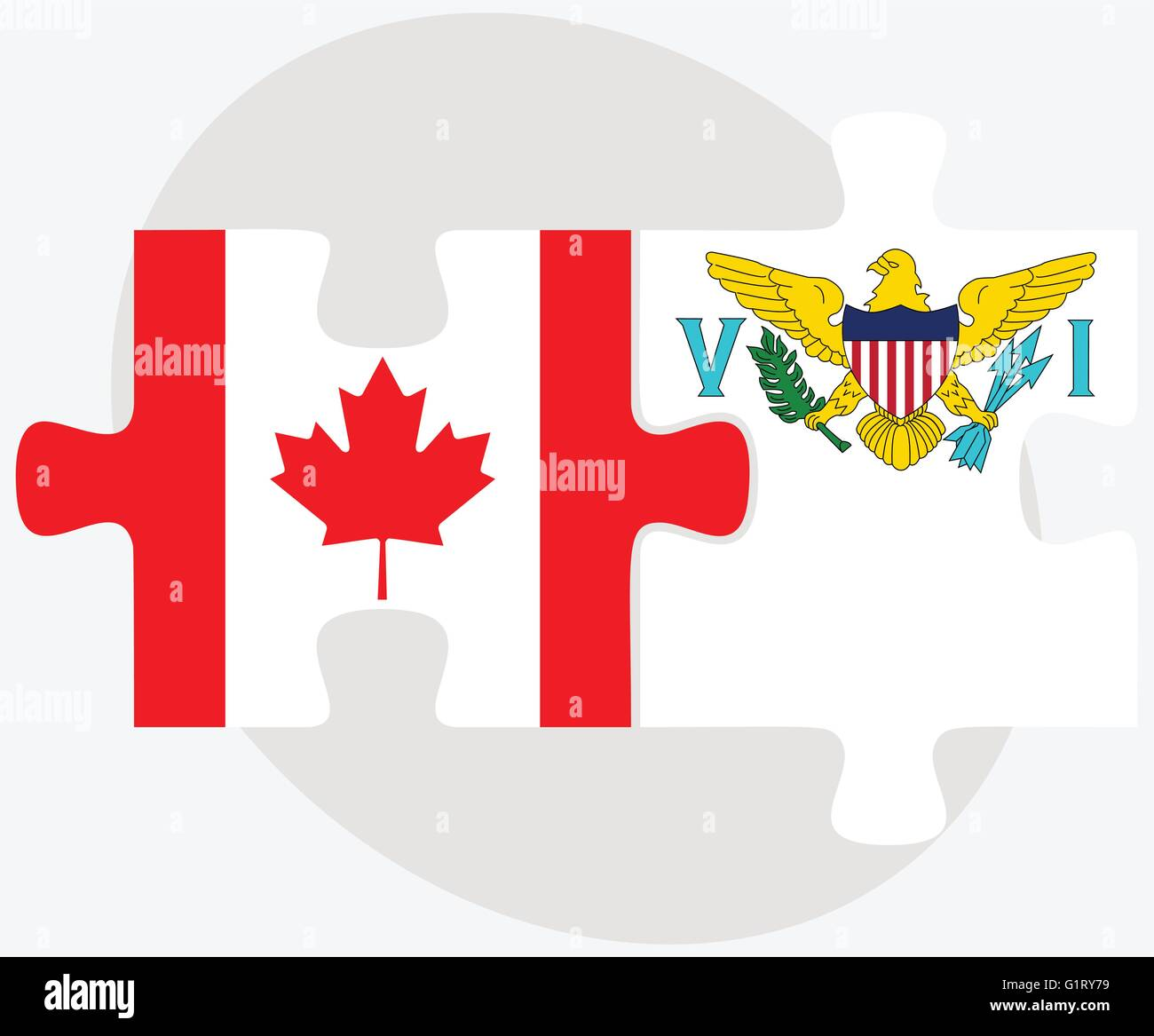 Canada and Virgin Islands (U.S.) Flags in puzzle isolated on white background - Stock Vector