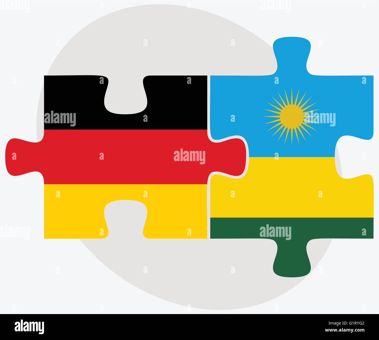 Germany and Rwanda Flags in puzzle isolated on white background - Stock Vector