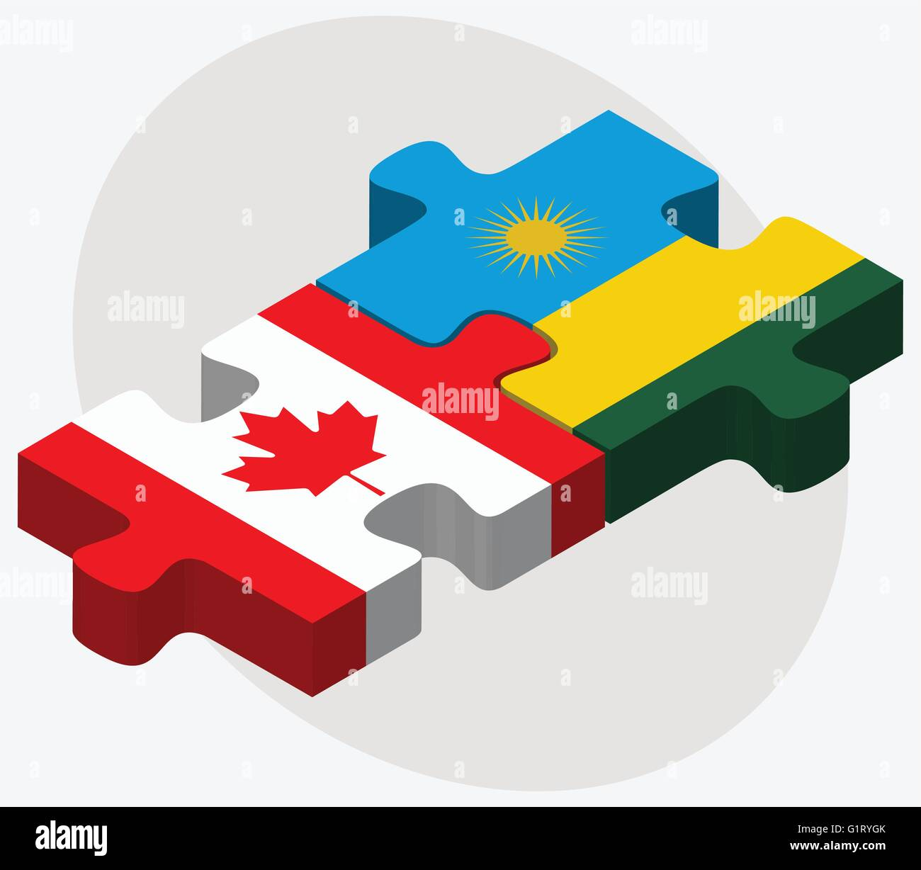 Canada and Rwanda Flags in puzzle isolated on white background - Stock Vector