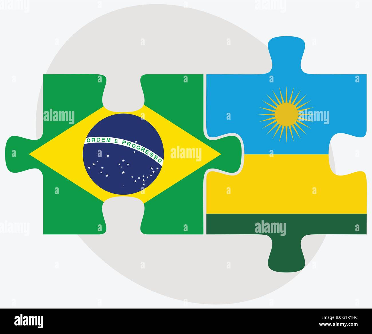 Brazil and Rwanda Flags in puzzle isolated on white background - Stock Vector