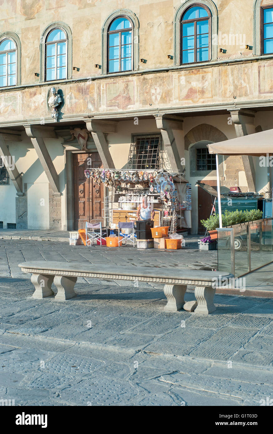 market stall santa croce square Florence Italy - Stock Image