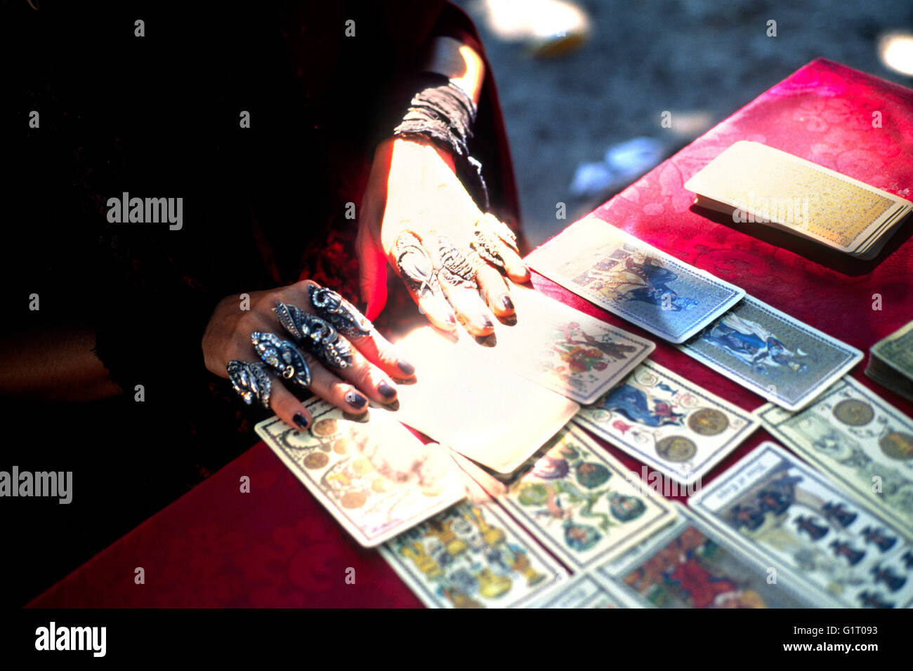 Fortune Teller with Cards - Stock Image