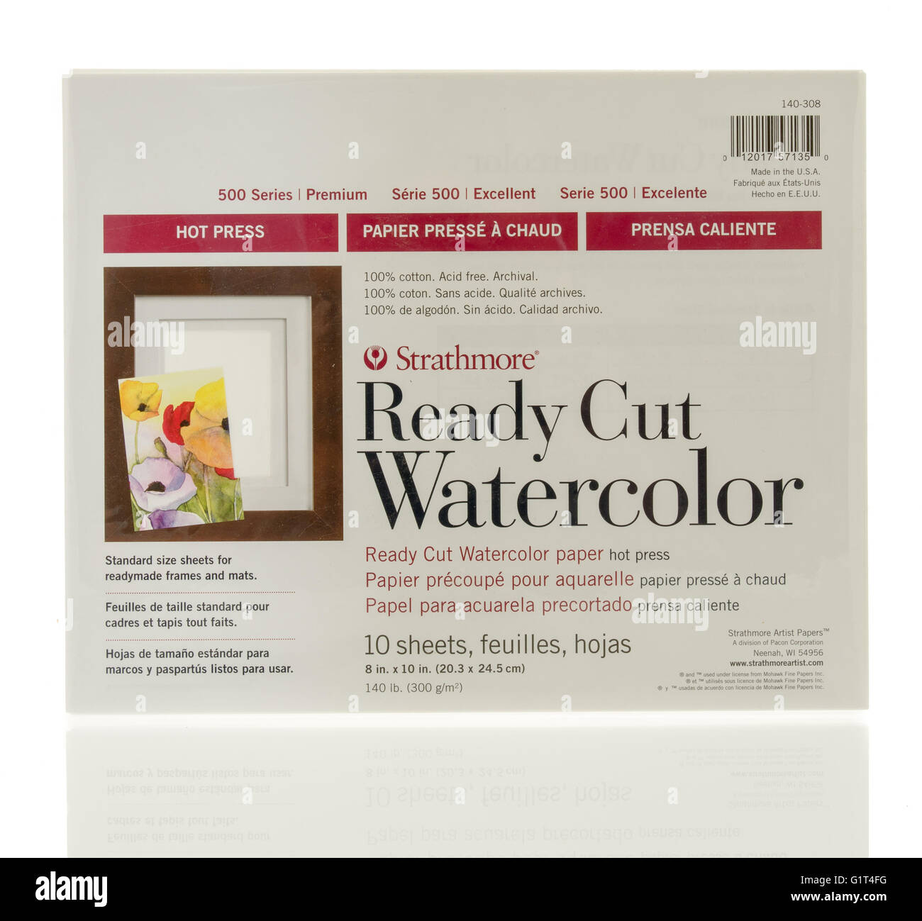 Winneconne, WI - 18 May 2016:  Package ready cut watercolor paper made by strathmore on an isolated background - Stock Image
