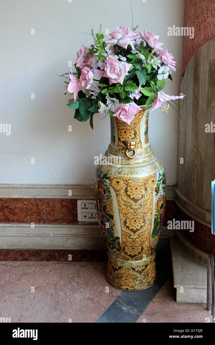 Alamy & Tall ceramic flower vase with decorative floral design standing at ...