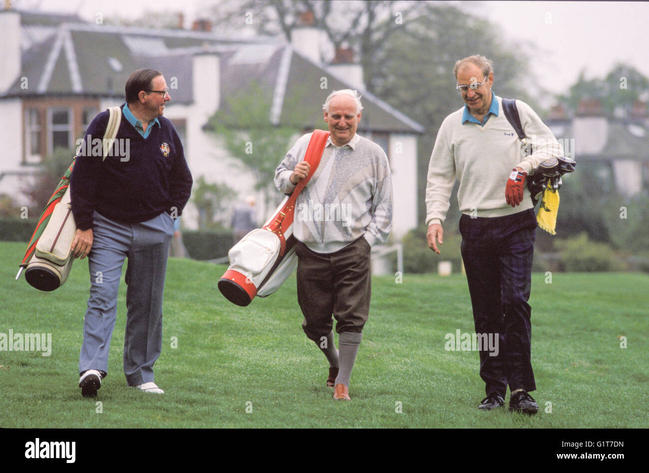 Pensioners playing Golf near Edinburgh Scotland - Stock Image